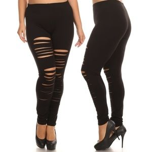 9374e2ad3393a Pants - Plus size high waist leggings distressed shredded